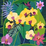 Green tropical background with blooming yellow and purple orchids and palm leaves. . Seamless botanical pattern with aloha motifs. Trendy design for textile Stock Images