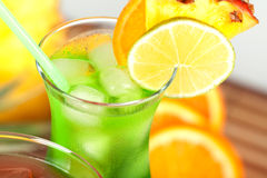 Green tropical cocktail with pineapple Royalty Free Stock Photos