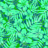 Green tropical flowers silhouettes seamless Stock Photo