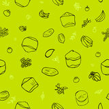 Green tropical fruit seamless pattern Royalty Free Stock Photography