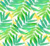 Green tropical leaves watercolor imitation seamless pattern Stock Photo