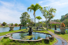 Green tropical park with fountains and ponds Royalty Free Stock Image