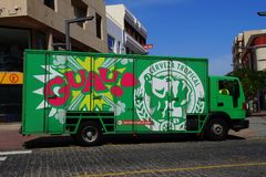 Green Tropical Pilsen beer delivery truck Royalty Free Stock Photography