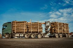 Green truck carrying pulpwood to the cargo ship in the port. Summer time. Close up. Copy space stock photos