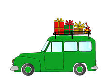Green truck with Christmas gifts Royalty Free Stock Photography