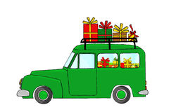 Green truck with Christmas gifts Royalty Free Stock Photos