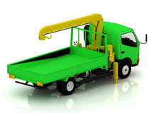 Green truck with a crane Stock Photography