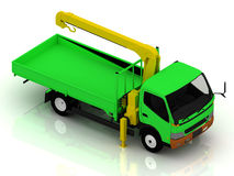 Green truck with a crane Royalty Free Stock Image