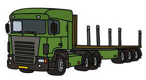 Green truck with a flat semitrailer. Hand drawing of a funny green towing truck with a flat semitrailer - not a real type Royalty Free Stock Photography