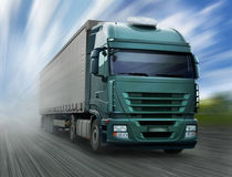 Green truck. Speeding on Road royalty free stock images