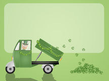 Green truck transport clovers for St. Patrick Royalty Free Stock Photo