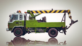 Green Truck or truck crane with lift in factory Royalty Free Stock Image