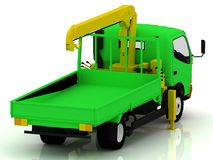 Green truck with a yellow crane Royalty Free Stock Images
