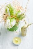 Green tulips, decorative bunny Royalty Free Stock Image