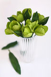 Green tulips in vase Stock Photos