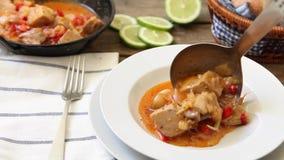Green tuna curry stock video footage