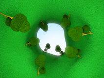 Green tunnel. Surreal tunnel of trees. Green tunnel, 3D image Royalty Free Stock Photos