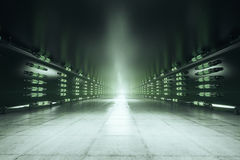 Green tunnel. Abstract green tunnel interior. 3D Rendering Stock Photos