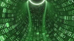 Green tunnel made of hexadecimal symbols. Loopable green tunnel made of hexadecimal symbols. Internet service, information technology or big data related motion stock video