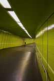 Green tunnel. Green pedestrian tunnel with neon lights Royalty Free Stock Photography