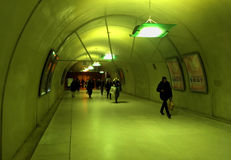 Green tunnel. Green pedestrian tunnel in Saint Lazare train station Paris France Royalty Free Stock Image