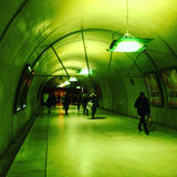 Green tunnel. Green pedestrian tunnel in Saint Lazare train station Paris France Royalty Free Stock Images