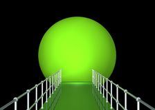Green Tunnel With Railing. Green tunnel with walkway and metal railing has reflections and black background Stock Images