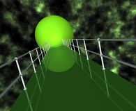 Green Tunnel With Railing. Green tunnel walkway with railing, gas in sky and starfield Stock Photography