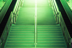 Green tunnel Staircase going up to the light Stock Photos