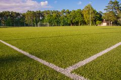 Green turf of football stadium Stock Photo