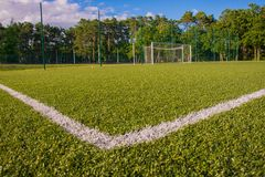 Green turf of football stadium Royalty Free Stock Image