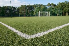 Green turf of football stadium Stock Images
