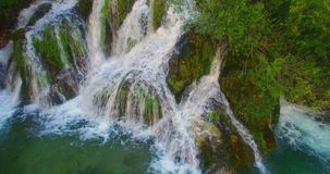 Waterfall in forest stock video footage
