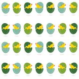 Green turquoise patterned Easter eggs in rows with Stock Photo