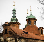 Green turrets on a castle. Stock Image