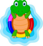 Green turtle cartoon relaxing Royalty Free Stock Image