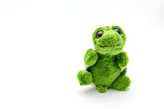 Green turtle doll with happy emotion isolated on white Stock Images