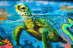 Green turtle graffiti Royalty Free Stock Photo