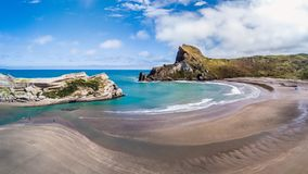 One of the amazing beaches in New Zealand. Amazing beach in New Zealand with clean blue ocean stock image