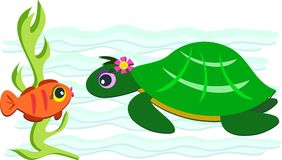 Green Turtle and Orange Fish Stock Images