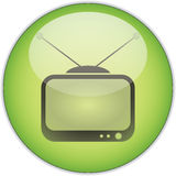 Green TV Button. Illustration of a green old TV button.  Isolated against a white background Royalty Free Stock Image
