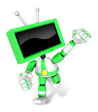 A Green TV Character and a boxing play. Create 3D Television Rob Royalty Free Stock Photography