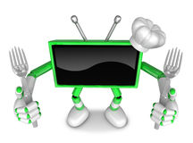 Green TV Character Chef in both hands to hold a fork. Create 3D Royalty Free Stock Photography