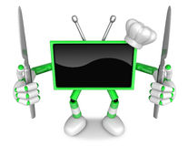 Green TV Character Chef in both hands to hold a Knife. Create 3D Royalty Free Stock Images