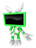 Green TV character are kindly guidance. Create 3D Television Rob Stock Photography