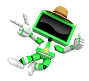 Green TV character are kindly guidance. Create 3D Television Robot Series. Stock Image