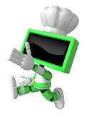 Green TV character is powerful running. Create 3D Television Rob Stock Photo
