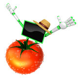 Green TV character are surprised to see the big tomato.  Create Royalty Free Stock Photos