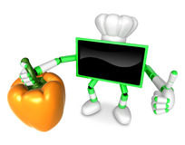Green TV chef Character right hand sweet-pepper. The best gestur Stock Photography