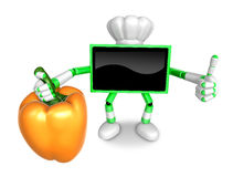 Green TV chef Character right hand sweet-pepper. The best gestur Royalty Free Stock Photo